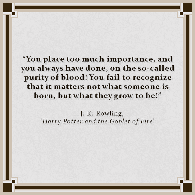 """You place too much importance, and you always have done, on the so-called purity of blood! You fail to recognize that it matters not what someone is born, but what they grow to be!"" — J. K. Rowling, 'Harry Potter and the Goblet of Fire'"
