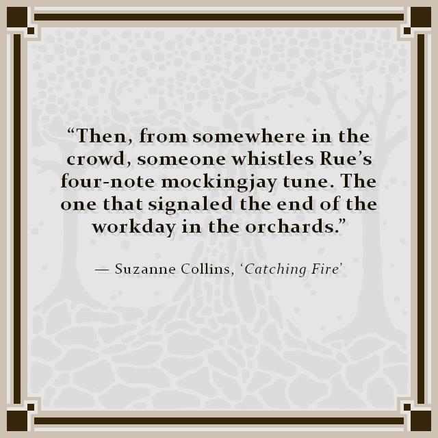 """Then, from somewhere in the crowd, someone whistles Rue's four-note mockingjay tune. The one that signaled the end of the workday in the orchards."" — Suzanne Collins, 'Catching Fire'"
