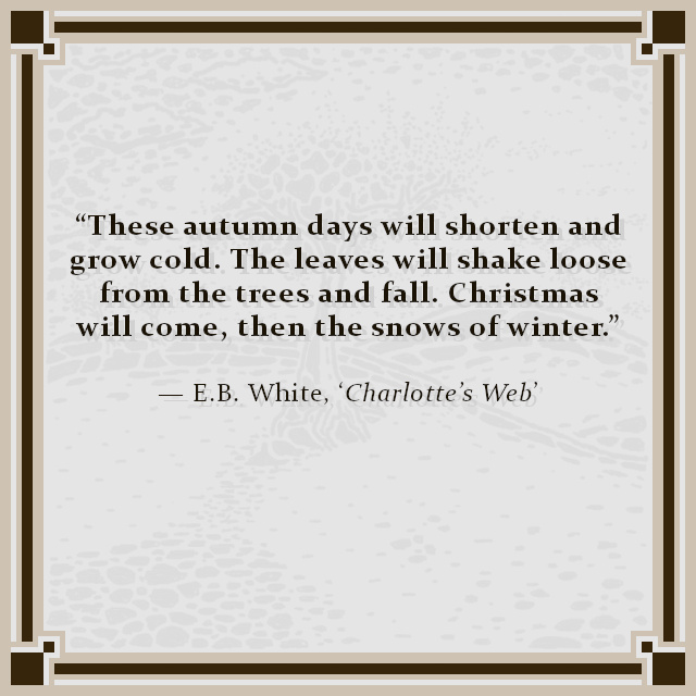 """""""These autumn days will shorten and grow cold. The leaves will shake loose from the trees and fall. Christmas will come, then the snows of winter."""" — E.B. White, 'Charlotte's Web'"""