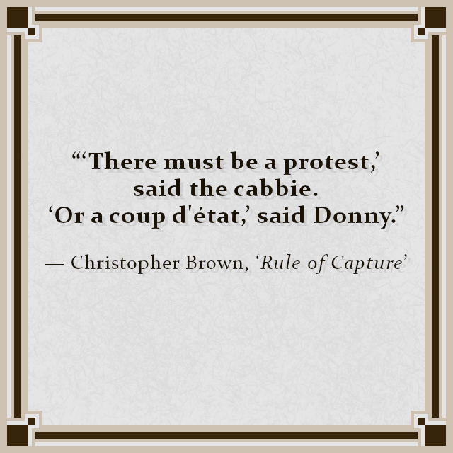 """'There must be a protest,' said the cabbie. 'Or a coup d'état,' said Donny."" — Christopher Brown, 'Rule of Capture'"
