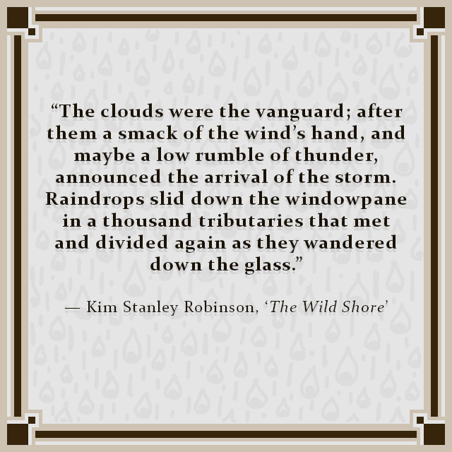 """""""The clouds were the vanguard; after them a smack of the wind's hand, and maybe a low rumble of thunder, announced the arrival of the storm. Raindrops slid down the windowpane in a thousand tributaries that met and divided again as they wandered down the glass."""" — Kim Stanley Robinson, 'The Wild Shore'"""