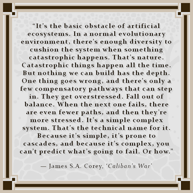 """""""It's the basic obstacle of artificial ecosystems. In a normal evolutionary environment, there's enough diversity to cushion the system when something catastrophic happens. That's nature. Catastrophic things happen all the time. But nothing we can build has the depth. One thing goes wrong, and there's only a few compensatory pathways that can step in. They get overstressed. Fall out of balance. When the next one fails, there are even fewer paths, and then they're more stressed. It's a simple complex system. That's the technical name for it. Because it's simple, it's prone to cascades, and because it's complex, you can't predict what's going to fail. Or how."""" — James S.A. Corey, 'Caliban's War'"""